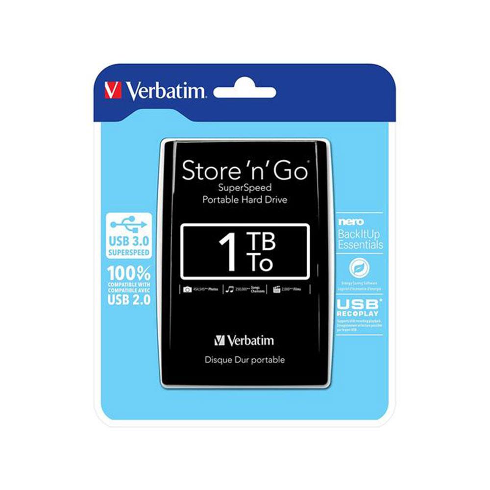 Verbatim Store n Go 1Tb 2.5 External HD USB3 Black